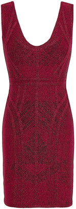 Herve Leger Metallic Bandage-jacquard Mini Dress