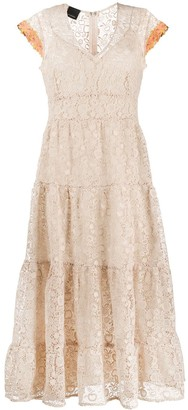 Pinko Lace Tiered Midi Dress