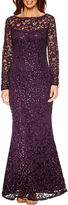 BLUE SAGE Blu Sage Long Sleeve Lace Sequin Evening Gown-Petites