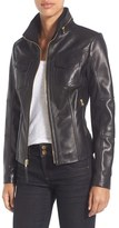 MICHAEL Michael Kors Women's Front Zip Leather Jacket