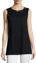 Joan Vass Sequined-Neck Long Tank