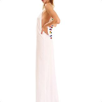 Pitusa White Pom Pom Necklace Maxi Dress - O/S - White