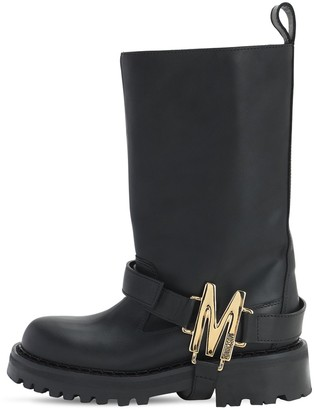 Moschino 50mm Leather Biker Boots