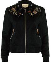 River Island Womens Black floral suede look trucker jacket
