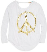 Vintage Havana Girls' Cutout Back Peace Symbol Tee - Sizes S-XL