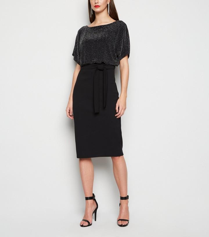 Thumbnail for your product : New Look Missfiga Glitter Batwing Midi Dress