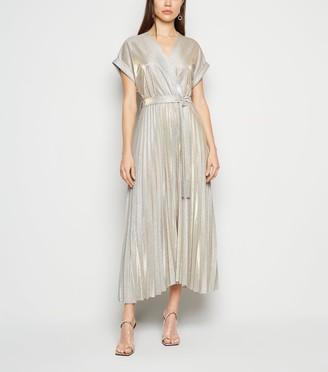 New Look Glitter Pleated Wrap Midi Dress