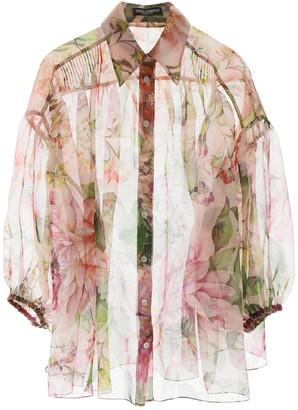 Dolce & Gabbana Flower Organza Oversized Shirt