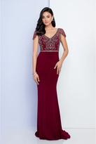 Terani Couture 1721M4330 Embellished V-Neck Sheath Dress