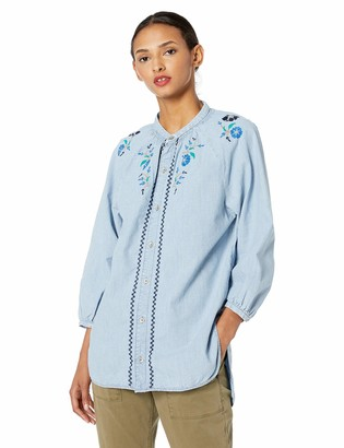 Lucky Brand Women's Peasant Shirt with EMBRODERY