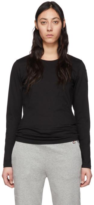 Moncler Black Logo Patch Long Sleeve T-Shirt