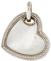 David Yurman Sterling Diamond & Mother of Pearl Heart Pendant