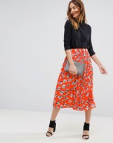Warehouse Floating Floral Skirt