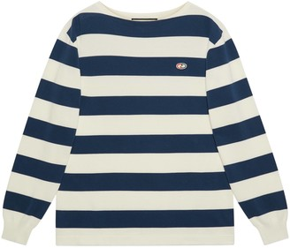 Gucci Striped knit cotton sweater with GG