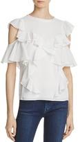 Rebecca Taylor Cold-Shoulder Silk Top