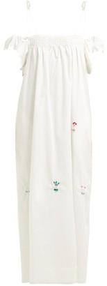 Horror Vacui Ameda Bead Embellished Cotton Maxi Dress - Womens - White