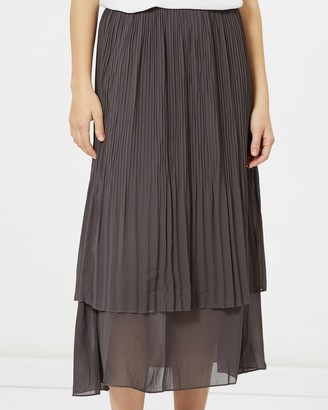 Privilege Women's Grey Pleated skirts - Midi Length Pleat Skirt - Size One Size, 8 at The Iconic