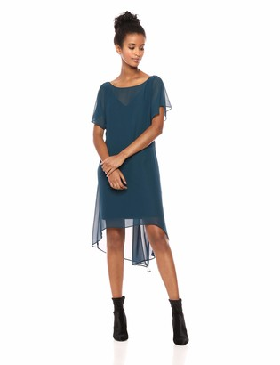 Adrianna Papell Women's Short Sleeve Matte Jersey and Chiffon Dress