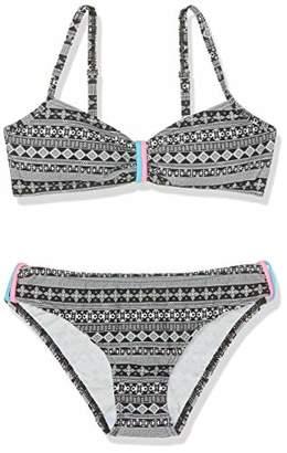 Sanetta Girl's Bikini Padded Swimwear Set, (Super Black)