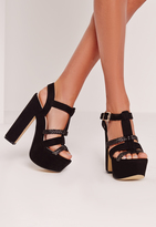 Missguided Pleated Strap Platforms Black