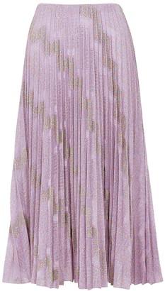 M Missoni Zigzag metallic-weave plisse midi skirt