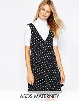 Asos Polka Dot Pinafore Dress
