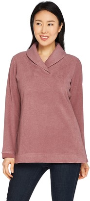 Denim & Co. Textured Fleece Long Sleeve Shawl Collar Top