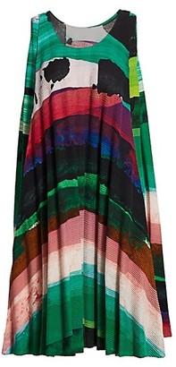 Issey Miyake Panorma Pleat Sleeveless Mini Dress