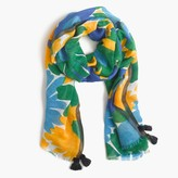 J.Crew Morning floral scarf with tassels