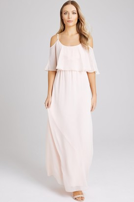 Girls On Film Motion Nude Chiffon Cold Shoulder Maxi Dress