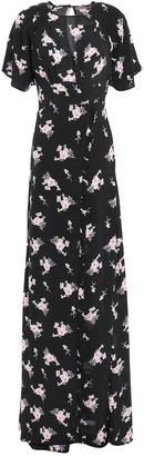 By Ti Mo Wrap-effect Ruffled Floral[-print Crepe Maxi Dress