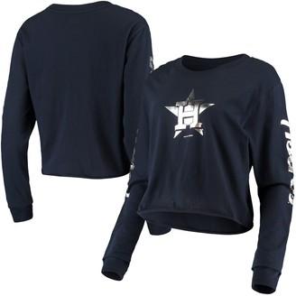 New Era Women's Navy Houston Astros Baby Jersey Long Sleeve Cropped T-Shirt