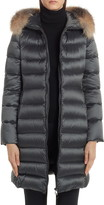 Moncler Tinuv Belted Satin Down Coat with Detachable Genuine Fox Fur Hood Trim