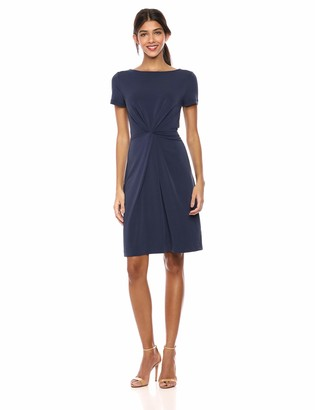 Lark & Ro Amazon Brand Women's Lightweight Crepe Knit Short Sleeve Center Twist Dress