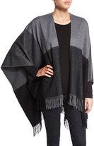 Neiman Marcus Two-Tone Wool Ruana Shawl, Smog Gray/Black