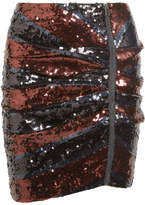 Veronica Beard Marlon Ruched Sequined Crepe Mini Skirt - Black