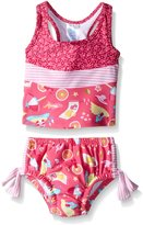 I Play I-Play Girls' Two-Piece Bow Tankini Swimsuit Set with Built-In Reusable Absorbent Swim Diaper