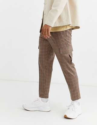 Asos DESIGN tapered crop smart trousers with cargo pockets in brown check