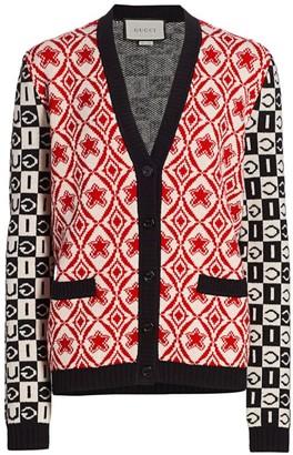 Gucci Wool Jacquard Logo V-Neck Cardigan