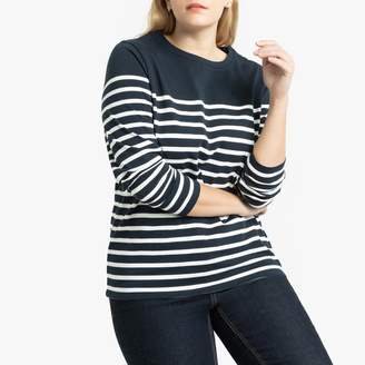 La Redoute Collections Plus Cotton Breton Striped T-Shirt with Long Sleeves