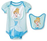 Disney Princess Newborn Girls' Disney Cinderella Bodysuit & 2 Bib Set - Blue