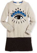 Kenzo Long-Sleeve Melange Eye Sweat Dress, Gray, Size 4-6