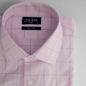 Tie Bar Striped Windowpane Pink Non-Iron Dress Shirt