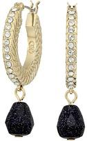 Cole Haan Basket Weave Pave Stone Drop Huggie Earrings