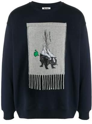 Acne Studios animal embroidered patch sweatshirt