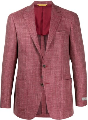 Canali Textured Fitted Suit Jacket