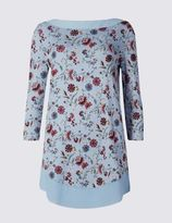 Marks and Spencer Floral Print Slash Neck 3/4 Sleeve Tunic