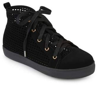 Brinley Co. Womens Faux Leather High-top Lace-up Laser-cut Sneakers