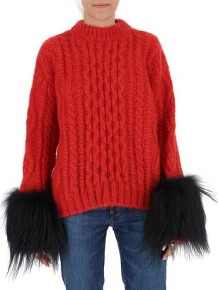 Prada Contrast Cuff Cable Knit Sweatshirt