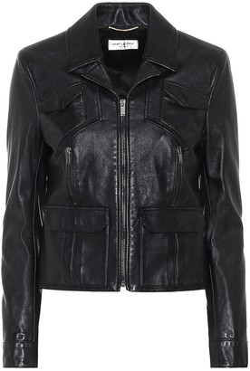 Saint Laurent Cropped leather biker jacket
